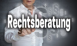 Rechtsberatung in german Legal advice is shown by man concept Royalty Free Stock Photos