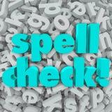 Rechtschreibüberprüfungs-Buchstabe-Hintergrund-korrekte Rechtschreibungs-Wörter Stockfoto
