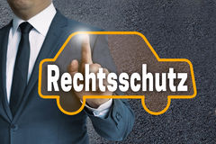Rechtsschutz (in german legal protection) car touchscreen is ope Stock Images