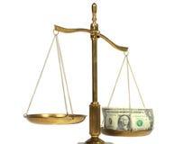 Rechtvaardigheid en geld Stock Fotografie