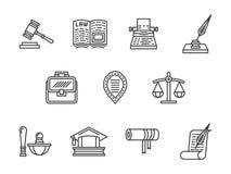 Rechtvaardigheid en wets zwarte geplaatste lijnpictogrammen Stock Foto