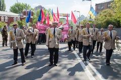 01.05.2014 Rechtvaardigheid maart in Kiev. De Dag van internationale die Arbeiders (ook als Meidag wordt bekend) Stock Foto's