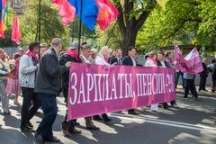 01.05.2014 Rechtvaardigheid maart in Kiev. De Dag van internationale die Arbeiders (ook als Meidag wordt bekend) Stock Afbeeldingen