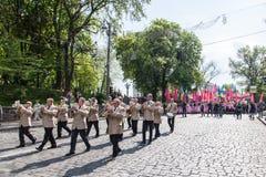 01.05.2014 Rechtvaardigheid maart in Kiev. De Dag van internationale die Arbeiders (ook als Meidag wordt bekend) Stock Foto