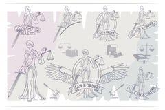Rechtvaardigheid Set Femida - dame van rechtvaardigheid DameLawyer embleem royalty-vrije illustratie