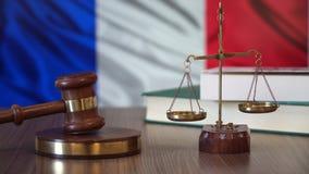 Rechtvaardigheid voor de Wetten van Frankrijk in Frans Hof stock video