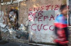 Rechtvaardigheid voor Stefano Cucchi-graffiti Royalty-vrije Stock Afbeelding