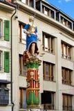 Rechtvaardigheidsfontein in Palud-vierkant in Lausanne Zwitserland Royalty-vrije Stock Foto's
