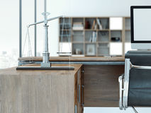 Rechtvaardigheidsschalen op de houten lijst het 3d teruggeven Royalty-vrije Stock Fotografie