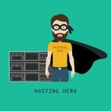 Recibimiento del héroe delante del estante de los servidores Foto de archivo libre de regalías
