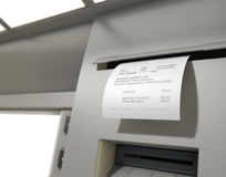 Recibo de Withdrawel do deslizamento do ATM Fotos de Stock Royalty Free