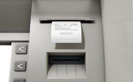 Recibo diminuído deslizamento do ATM Imagens de Stock