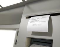 Recibo diminuído deslizamento do ATM Foto de Stock Royalty Free