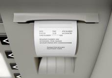 Recibo diminuído deslizamento do ATM Imagem de Stock Royalty Free