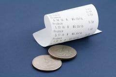 Recibo e do registo de dinheiro dólar americano Foto de Stock