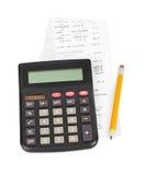 Recibo y calculadora Imagen de archivo libre de regalías