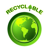 Reciclável recicle a terra das mostras amigável e bio Fotos de Stock Royalty Free