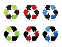 Recicl ícones do vetor Imagens de Stock Royalty Free