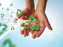 Recicl as mãos Foto de Stock