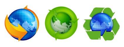 Recicl e globo Imagens de Stock