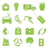 Recicl e limpe o jogo do ícone do ambiente Imagens de Stock Royalty Free