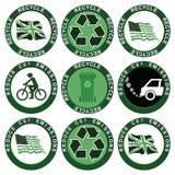 Recicl e reduza a coleção das emissões de carbono Foto de Stock