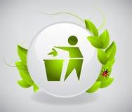 Recicl o ícone com folhas Fotos de Stock