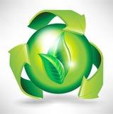 Recicl o conceito com setas e esfera Fotografia de Stock