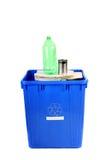 Recicl o escaninho azul Fotografia de Stock