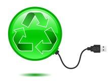 Recicl o pictograma com plugue do USB ilustração stock