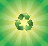 Recicl o símbolo com sunburst Imagens de Stock