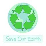 Recicl o símbolo com terra Ilustração Stock