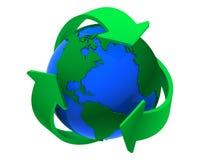 Recicl o símbolo em torno da terra Fotos de Stock Royalty Free