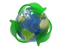 Recicl o símbolo em torno da terra Imagens de Stock