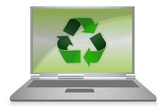 Recicl o símbolo no computador Fotografia de Stock