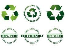 Recicl o símbolo e os selos Foto de Stock