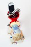Recicl o telefone móvel, começ o dinheiro Fotos de Stock