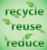 Recicl, reúso, reduza palavras frondosas Fotos de Stock