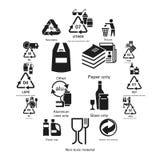 Recicla o grupo do ícone, estilo simples ilustração stock