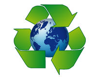 Reciclagem azul realística internacional do globo Foto de Stock Royalty Free
