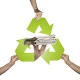 Reciclagem do jornal Fotografia de Stock Royalty Free