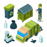 Reciclagem do lixo isométrica Escaninho de serviço público de limpeza do incinerador urbano do caminhão do serviço da cidade com  ilustração stock