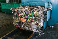 Reciclagem e classificação do desperdício do agregado familiar na planta Lixo pressionado para mais ulterior transformação Recicl foto de stock royalty free