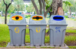 Reciclagens coloridas no parque Fotografia de Stock