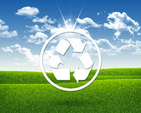 Reciclaje blanco del símbolo Imagen de archivo