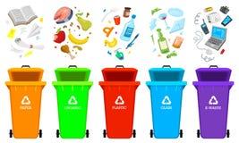 Reciclaje de elementos de la basura El bolso o los envases o las latas para diferente trashes Clasificando y utilice los residuos libre illustration