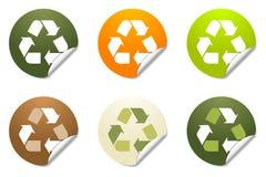 Reciclaje de iconos de la etiqueta engomada Imagen de archivo libre de regalías
