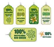 Reciclaje de iconos verdes de la etiqueta Imagen de archivo libre de regalías