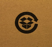 Reciclaje de insignia del rectángulo Imágenes de archivo libres de regalías