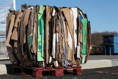 Reciclaje de la basura de Carboard Imágenes de archivo libres de regalías